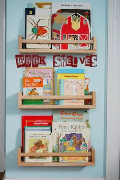 This is a great way to save space. For instructions http://domesticsimplicity.com/2010/12/30/quick-easy-childrens-book-storage/