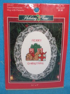 """Dog with Presents Lace Ornaments Cross Stitch Kit  3 1/2"""" x 5"""" Unopen Christmas"""