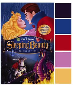 Today's Poster Palette features a princess close to my Disneyland-loving heart – yes, it's Sleeping Beauty! This Sleeping Beauty poster features a lot of rich colors – the dark purple of Malificent, the royal blue and red of Prince Philip's cape, the pretty pink of Aurora's dress, and a glittering gold to match her crown. …