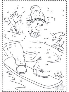 Image detail for -Winter coloring pages / Snowboarding / Numberdrawing snowboard