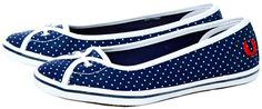 FRED PERRY GIRLS BLUE POLKA DOT JET SHOES - Fred Perry has a great new pair of flats for Spring!  These blue