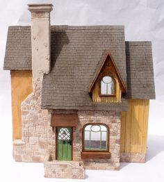 1:24 scale miniature dollhouse kit 'Carmel Cottage' for collectors by RedCottageMiniatures on Etsy https://www.etsy.com/listing/295037363/124-scale-miniature-dollhouse-kit-carmel