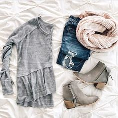 Love this whole outfit! Especially the grey top and grey boots!