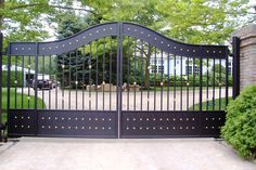 Westchester Automated Gate fabricates and installs residential and commercial driveway gates. Includes Service Calls for Automated Gate Operating Systems. Wrought Iron Gate Designs, Wrought Iron Gates, Driveway Design, Driveway Gate, Fence, Front Gates, Entrance Gates, Compound Gate Design, Simple Gate Designs