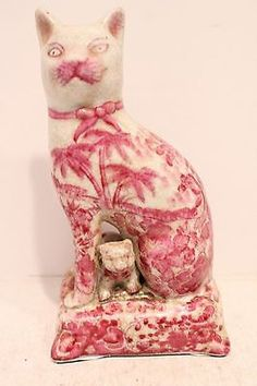 Beautiful Unique Cute Pink and White Porcelain Cat and Kitten Figurine 7.5'