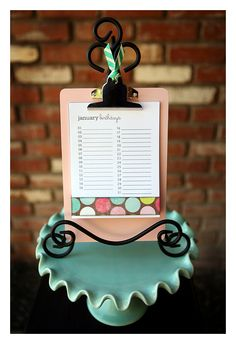 birthday calendar clipboard, with free printable for the monthly calendars.  Cute idea with so many possibilities for customizing.  A great way to keep organized, and a great gift! :o)