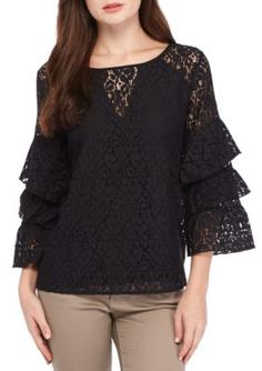 Fever Women's Tier Sleeve Lace Top - Black - Xl
