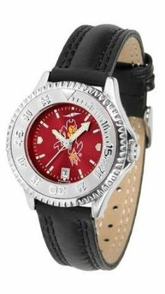 Arizona State Devils Ladies Leather Wristwatch by SunTime. $78.95. Poly/Leather Band. Women. Officially Licensed Arizona State Devils Ladies Leather Wristwatch. Adjustable Band. Water Resistant. Arizona State Devils Ladies Leather Wristwatch with AnoChrome face. The Devils wrist watch has functional rotating bezel color-coordinated with team logo. A durable, long-lasting combination nylon/leather strap, together with a date calendar make this the ultimate watch to have. The ...