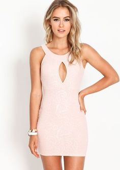 Sparkling Bodycon Dress, LIGHT PINK