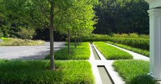 STEPHEN STIMSON ASSOCIATES | GREENWICH GARDEN Greenwich, Conneticut, CT groundcover, grass, water runnel