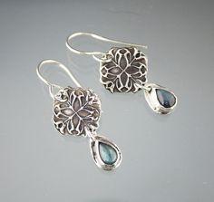 Fine Recycled Silver & Labradorite Tear Drop Sterling Earrings
