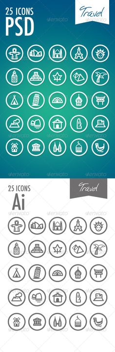 25 beautiful outlined icons. you can used for all creations (Web and Print).  This icon pack is including: PSD Photoshop with lay