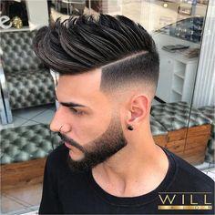Willsalon Medium Length Hairstyles For Men 2018 Spikes High Fade Mens Hairstyles Fade, Cool Hairstyles For Men, Hairstyles Haircuts, Haircuts For Men, 2018 Haircuts, Fashion Hairstyles, Medium Fade Haircut, Medium Hair Cuts, Medium Hair Styles