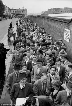 Crowds queueing outside Lord's to see the continuation of the Wally Hammond/Les Ames fourth wicket partnership in the test match in 38