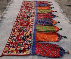 Old Fine Embroidery Rabari Ethnic Door Valance Tribal Wall Decor Toran | eBay