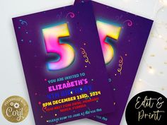 5th Space Birthday Invitation Editable Template Rainbow Space image 0 21st Birthday Invitations, Brunch Invitations, 18th Birthday Party, Invites, Invitation Card Design, Invitation Cards, Hot Wheels Party, Party Planning, Party Supplies