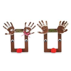 reindeer hand print frame for kids to make for parents