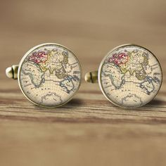 18mm World Map Cufflinks Mens Annivesary Gift by ThePendantQueen (Accessories, Suit & Tie Accessories, Cuff Links & Tie Clips, Cuff Links, mens accessory, glass cufflinks, picture cufflinks, beige cufflinks, brown cufflinks, vintage style, mens cufflinks, 18mm cufflinks, nautical cufflinks, brass cufflinks, map cufflinks, world map cufflinks, vintage map)