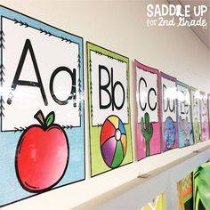 My classroom has a bright burlap themed alphabet line. Come see my classroom tour for other burlap themed ideas.