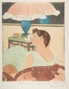 """""""The Lamp"""" (1890-1891), by American artist - Mary Cassatt (1844-1926), Drypoint, soft-ground etching and aquatint, printed in color from three plates; fourth state of four (Mathews & Shapiro), plate: 12 11/16 x 9 15/16 in. (32.2 x 25.3 cm.) sheet: 17 3/16 x 11 5/8 in. (43.7 x 29.5 cm.), Gift of Paul J. Sachs, 1916; 16.2.6; The Metropolitan Museum Of Art - New York, New York, USA."""