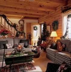 Lovely Log Cabin Style Living Room Furniture Including Retro Sectional Couch Covered by Black and White Plaid Fabric alongside Indoor Christmas Tree