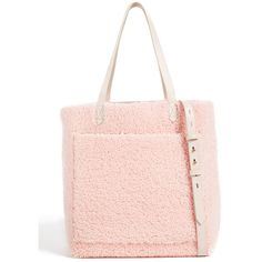 Madewell Medium Transport Tote in Shearling (2.268.140 VND) ❤ liked on Polyvore featuring bags, handbags, tote bags, avalon pink, pink purse, tote bag purse, pink tote bags, pink handbags and madewell purses