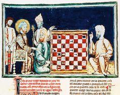 On this page from the 1282 Libro de los Juegos (Book of Games), or Libro de acedrex, dados e tablas (Book of Chess, Dice and Boards), Alfons...