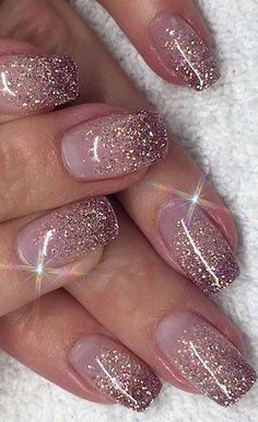 48 Nail Art Designs You Need To Try This Year stylish gorgeous glam natural nail art design polish manicure gel painting creative color paint toenails sexy feet Related posts:Floral inspirierte nackte Nagelkunst. Glitter Nail Art, Cute Acrylic Nails, Nail Glitter Design, Shellac Nails Glitter, Glitter French Manicure, Glitter Wedding Nails, Gel Ombre Nails, Ombre Nail Art, Umbre Nails
