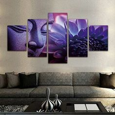 Purple Buddha Paintings 5 Pieces Canvas Art Wall Decor Prints Artwork for Living Room Framed,Small Size 100cmX55cm,Ready to hang  Consider using purple wall art if you want to make any room in your home look unique, trendy and modern.  In fact you can get all kinds of purple home décor ideas by finding a few pieces of charming and cool purple decorative accents.  Combine these with purple metal wall art to create a fun purple home decoration theme.
