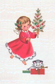 Vintage Christmas Angel & Kitten.