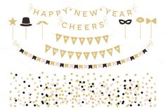 New Year Cliparts EPS & PNG by Pixejoo on Creative Market