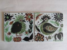 RARE Royal Copenhagen  pair of tiles  crazy bird by danishmood, kr700.00