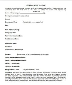 Lease Template, Letter of Intent To lease, Lease Templates