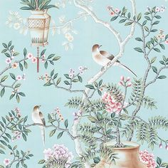 Interior Design by Andrea Schumacher Interiors, Denver Let us now . — Marco Polo, Travels, Chinoiserie is an Accent Wallpaper, Bird Wallpaper, Pattern Wallpaper, Oriental Wallpaper, Chinoiserie Wallpaper, Chinese Wallpaper, Wall Murals, Wall Art Decor, Vintage Flowers Wallpaper