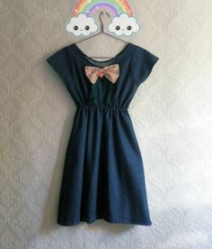 Denim cute dress with bow and lovely details by MyNameIsSueclothes, €60.00