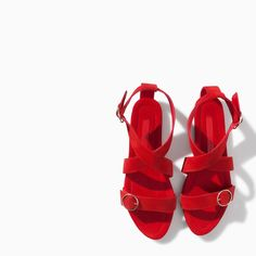ZARA - red leather sandal