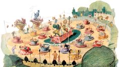 """Early concept art for the Mad Hatter's Tea Party (a.k.a. """"The Teacups""""), Disneyland—from a 1955 issue of McCall's magazine"""