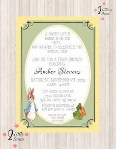 Peter Rabbit Baby Shower Invitation   DIGITAL PRINTABLE INVITATION