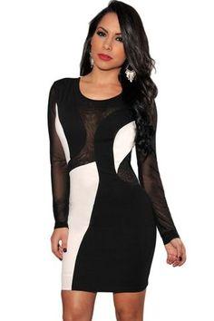 2a382b3a52a Black White Color-Block Mesh Sleeves Bodycon Dress LAVELIQ Bodycon Dress  With Sleeves