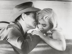 """Marilyn Monroe and Clark Cable on the set of The Misfits, photographed by Cornell Capa, 1960. """