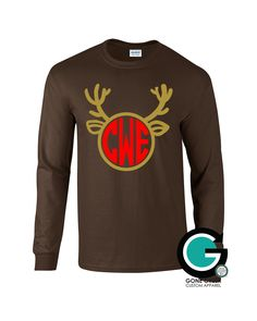 SALE! Chocolate Reindeer Printed Shirt with Monogram or Greek Letters (Sorority or Fraternity) -- Great for the Holiday's! by GoneGreek on Etsy