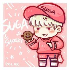 Yoongi & Shooky Fan art ❤ By Polar Bts Bangtan Boy, Bts Jimin, Jhope, Taehyung, Bts Chibi, Fanart Bts, Bts Drawings, Cartoon Drawings, Fan Art