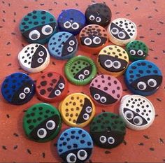 Use these to practice counting in 2s. Make with milk bottle lids.