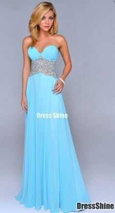 2015 sweetheart blue crystal details prom dress