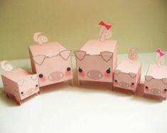 DIY - Printable PDF 300dpi digital sheets - Candy Box-Pig Family