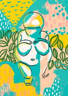 """""""Willendorf Beach"""" by Anna Maria Garza is part of my 2018 Ancients series. Inspired by Prehistoric art, archaeology, history, and African textiles. #VenusofWillendorf #WomanofWillendorf Venus Woman of Willendorf #archaeology #archaeologyart archaeology art #bodypositive body positive #Jungalow jungalow #junglestyle jungle style decor #prehistoricart prehistoric art #primativeart primative art curvy girl #curvygirl historic art ancient art #historicart #ancient #ancientart"""