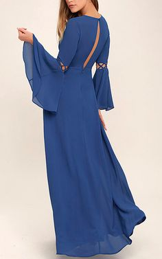 Now Is The Time Royal Blue Long Sleeve Maxi Dress via @bestmaxidress