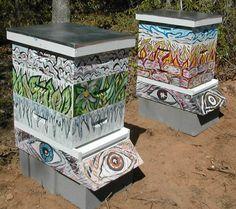 Funky beehive paint job. Artist unknown. #beekeeping #beehives