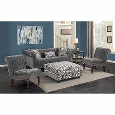 Twain Grey 4 Piece Fabric Living Room Set