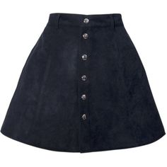 Angela A Line Skirt in Black Faux Suede By Motel (2,255 DOP) ❤ liked on Polyvore featuring skirts, high waisted knee length skirt, mini skirt, high rise skirts, faux suede mini skirt and a line skirt